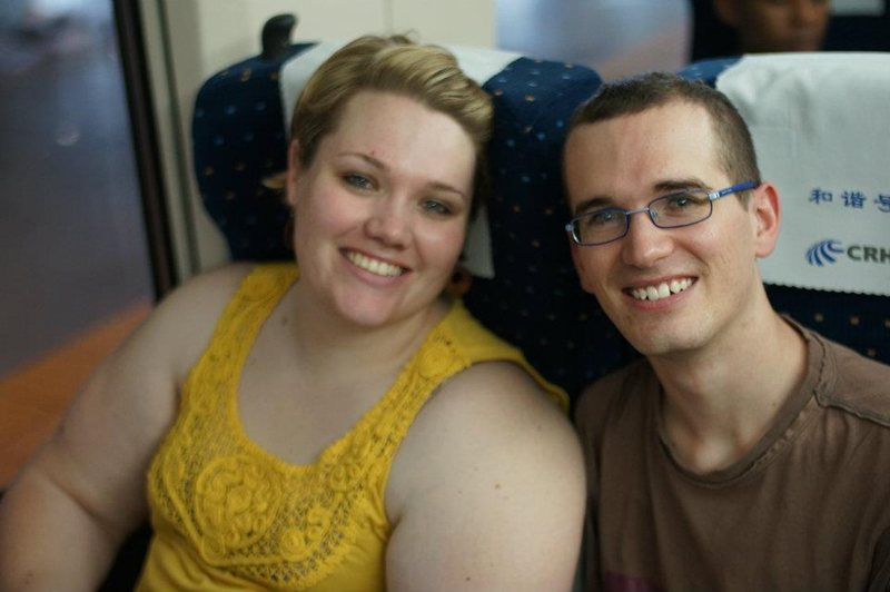 Megan and David on the Magnetic train-ride between Shanghai and Beijing