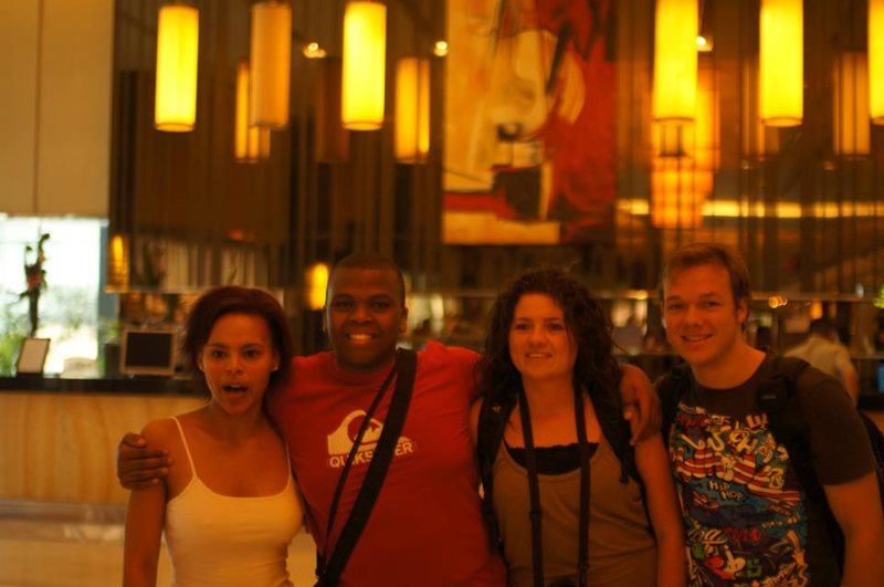 Gretchen, Siphumle, Theresa and Aston at the hotel in Shanghai