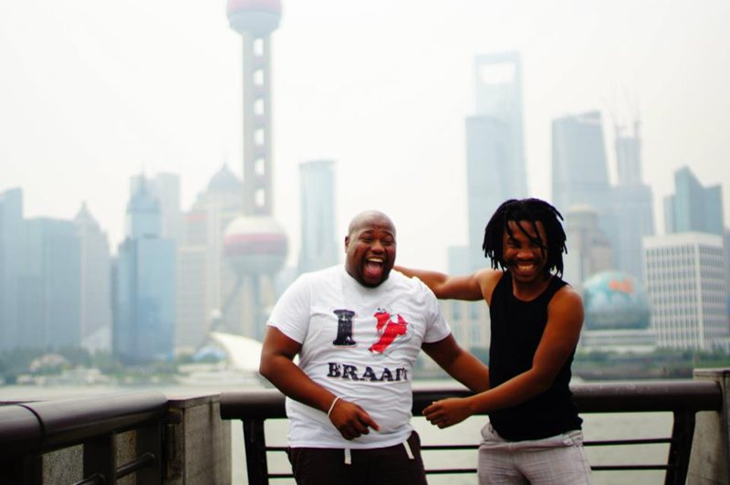 Anathi and Selo at the Bund in Shanghai